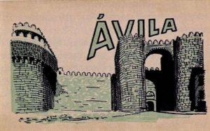 Postal con puerta de la muralla de avila L. Roisin 1920