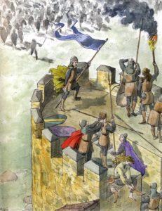Jimena Blazquez vistiendo a las damas de Ávila para defender la ciudad