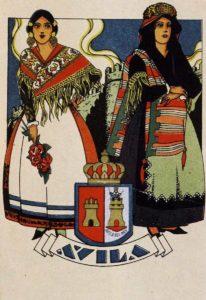 Postal de Ávila de mujeres con trajes típicos 1910