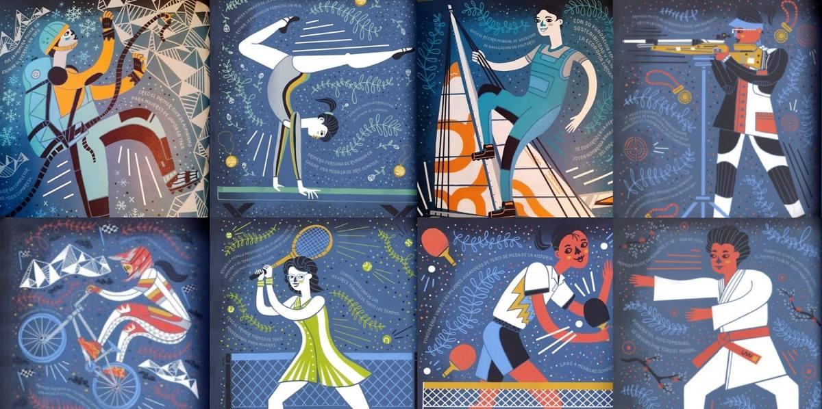 Mosaico de ilustracion de mujeres en el deporte Autor Rachel Ignotofsky